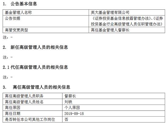 英大基金又一高管变更 督察长刘轶因个人原因离任