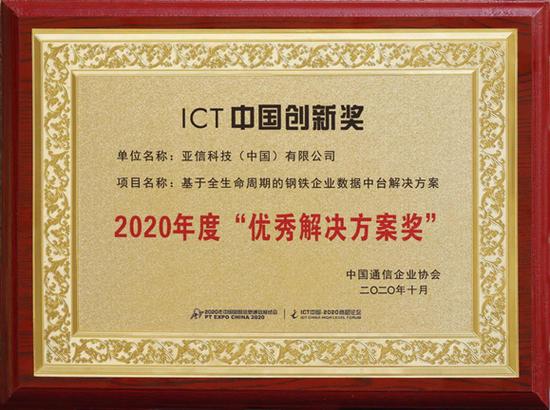 """亚信科技""""钢铁企业数据中台解决方案""""获""""2020年度优秀解决方案奖"""""""