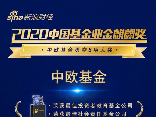 2020中国基金业金麒麟奖公布 中欧基金夺得8项大奖