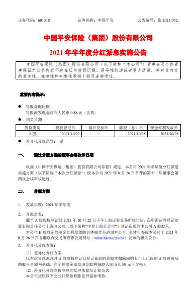 中国平安:2021半年度分红派息10派8.8元 股权登记日10