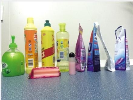 实验中检测的洗涤用品样品。