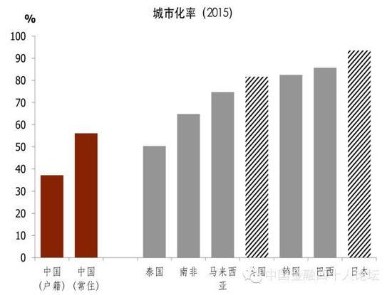 图8 中国实际的城市化率可能比官方公布的数字低