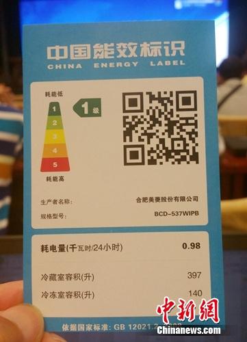 资料图:能效标识2.0版本示例。中新网记者 李金磊 摄