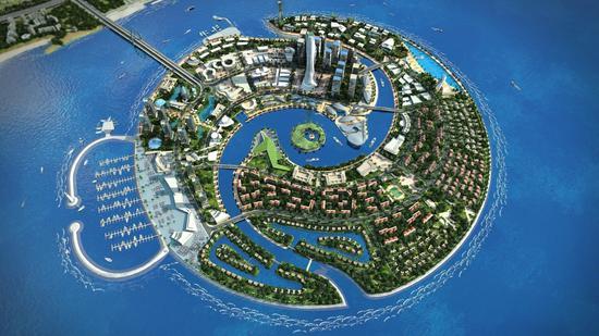 """""""   在双鱼岛规划展示厅的沙盘上,《华夏时报》记者看到,双鱼岛的规划"""