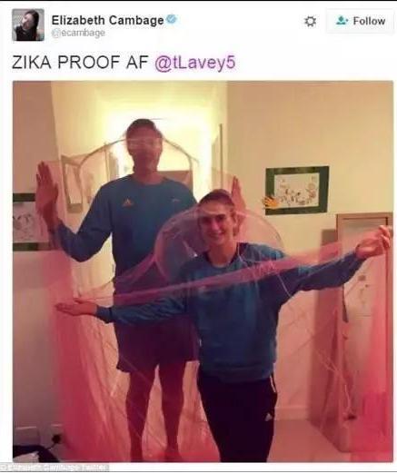 澳大利亚女篮名将伊丽莎白·坎贝奇在推特上也分享了蚊帐的照片。