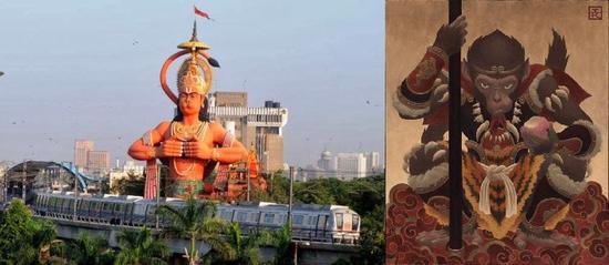 新德里的哈奴曼神像与中国猴王孙悟空图