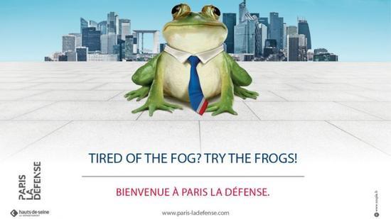 """巴黎的区政府为金融城""""拉德芳斯(La Defense)在英国大打广告"""