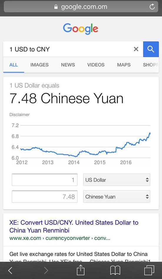 人民币对美元汇率跌至7.48?谷歌这乌龙怎么闹的