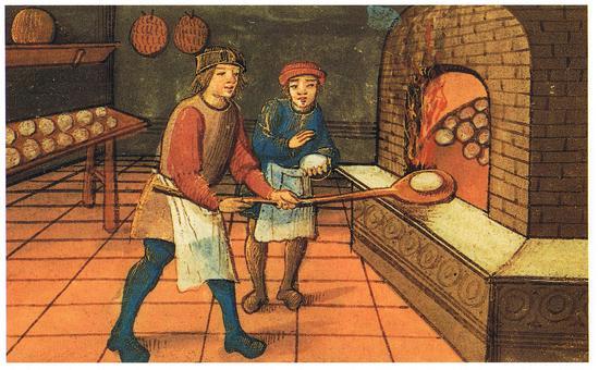 一个中世纪的面包师和他的学徒,经过了数百年的演变,现代学徒制和当年有天壤之别。图片来源:The Bodleian Library, Oxford
