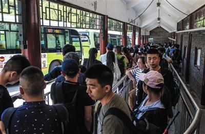 """""""五一""""假期首日,游客排队乘坐返城的公交车。新京报记者 李强 摄"""