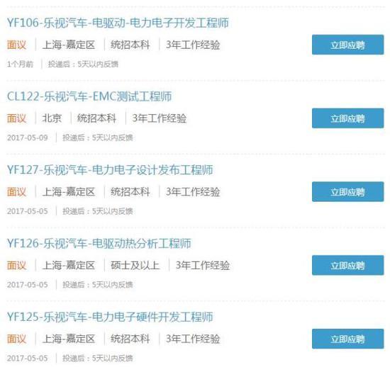 乐视汽车(北京)有限公司招聘信息