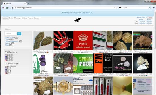 图3  典型的基于洋葱服务器的网络黑市网站