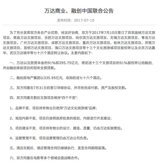 万达商业、融创中国公告截图。来源:万达商业公司官网