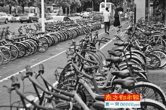 8月28日。深圳福田蓮花北地鐵站外,停滿了各家共享單車。南都記者趙炎雄攝