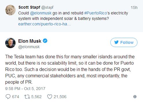 马斯克:若政府同意特斯拉将为波多黎各供电