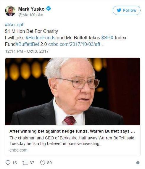 巴菲特拒打第二个10年赌局:我年纪大了(图)