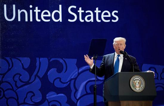资料图:美国总统特朗普11月10日在APEC CEO峰会上发表讲话