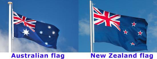 左为澳大利亚国旗,右为新西兰国旗