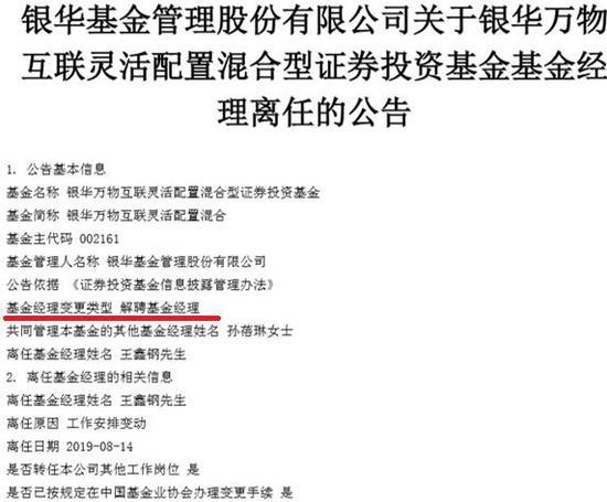 因工作安排 王鑫钢不再担任银华万物互联基金经理