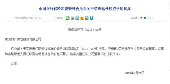 银保监会今日公布关于荣志远任职黄河财险董事长的任职资格