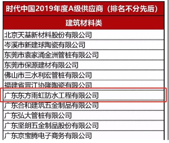 """东方雨虹获评时代中国""""2019年度A级供应商"""""""