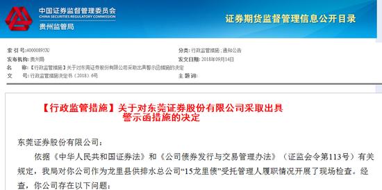 """东莞证券对""""15龙里债""""募资监督不到位 被证监局警示"""