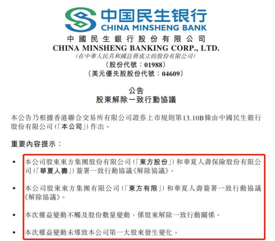 民生银行:东方集团与华夏人寿解除一致行动协议