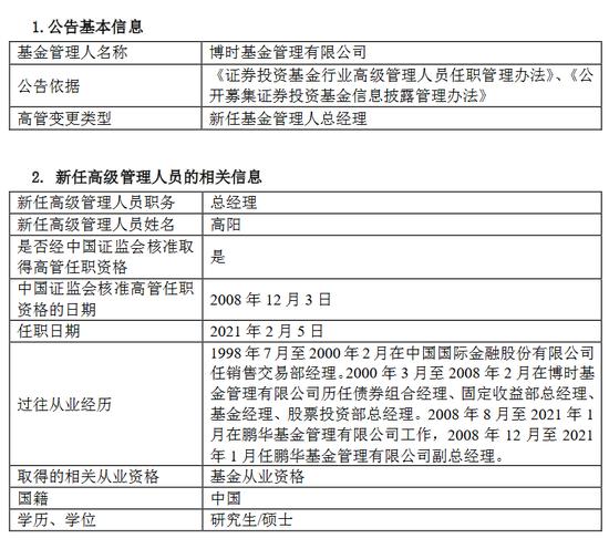 博时基金官宣:高阳正式任职博时基金总经理