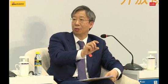 央行行长易纲在博鳌论坛。(直播截图)