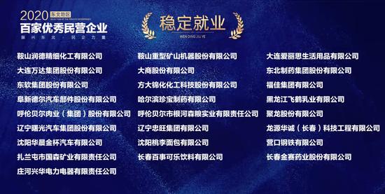 """""""2020东北地区百家优秀民营企业""""获奖名单正式发布"""