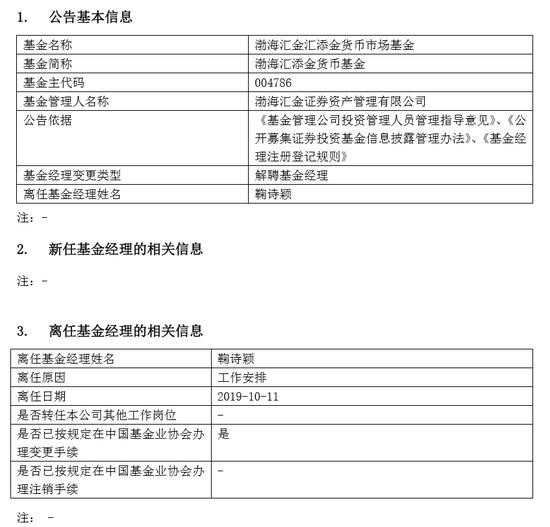 因工作安排 渤海汇金证券鞠诗颖离任基金经理