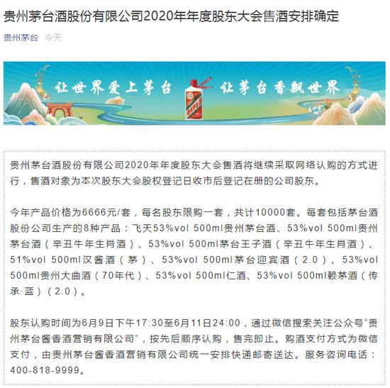 贵州茅台:2020年年度股东大会售酒安排确定 价格为6666元/套