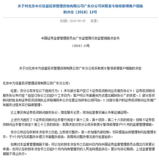 中方信富存多项违规 被证监局责令暂停新增客户3个月