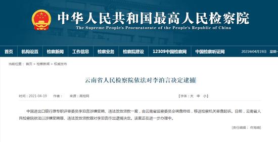 中国进出口银行原专职评审委员李泊言被决定逮捕