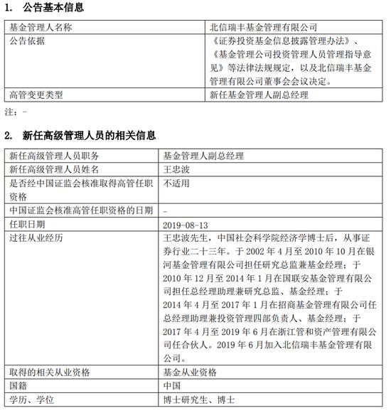 北信瑞丰任王忠波为副总经理 有招商、银河基金经验