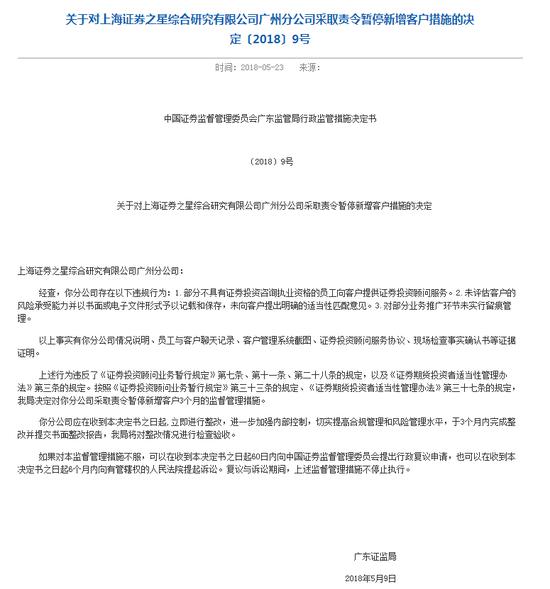 上海证券之星存在多项违规 被责令暂停新增客户3个月