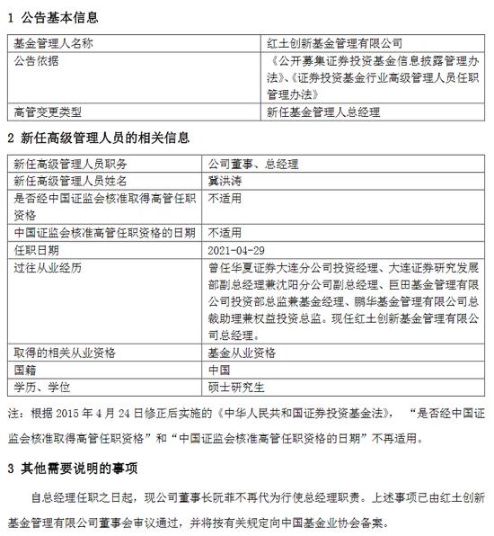 官宣!红土创新基金新任冀洪涛为总经理 曾任鹏华基金权益投资总监