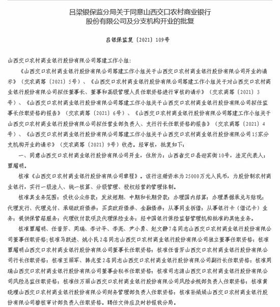 山西交口农商银行获批开业 注册资本为25000万元人民币