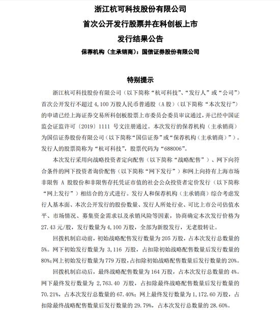杭可科技上市发行结果:网上投资者放弃认购额34.4万