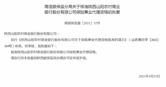 银保监会:核准陕西山阳农商行保险兼业代理资格