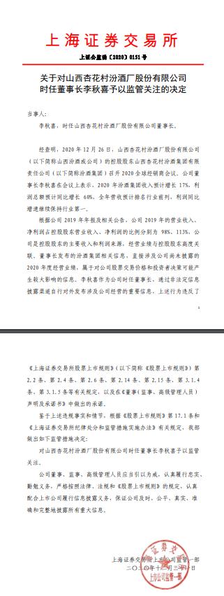 上交所:对山西汾酒时任董事长李秋喜予以监管关注