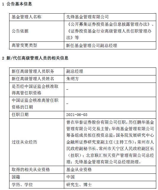 先锋基金Q1资产规模14.93亿元 新任朱明方为副总经理