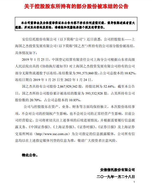 安信信托(600816.SH)控股股东解除冻结5.92亿股