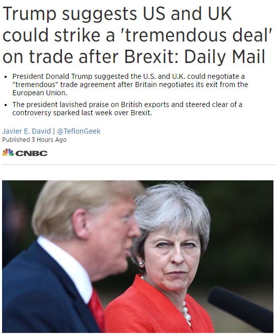 """外媒头条:特朗普称美英或将在脱欧后达成""""巨大交易"""""""