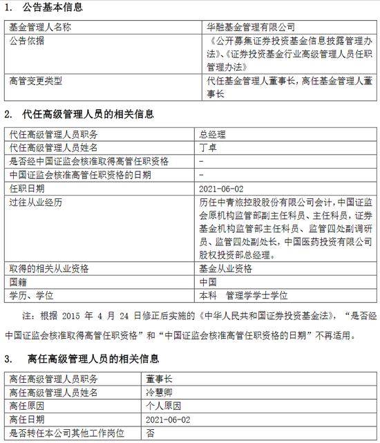 华融基金冷慧卿因个人原因离任 总经理丁卓代任董事长职务