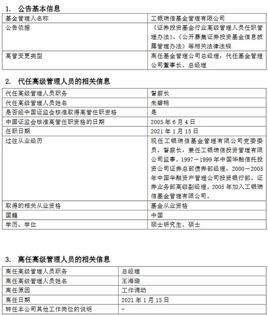 工银瑞信基金王海璐离任 由督察长朱碧艳代任董事长及总经理