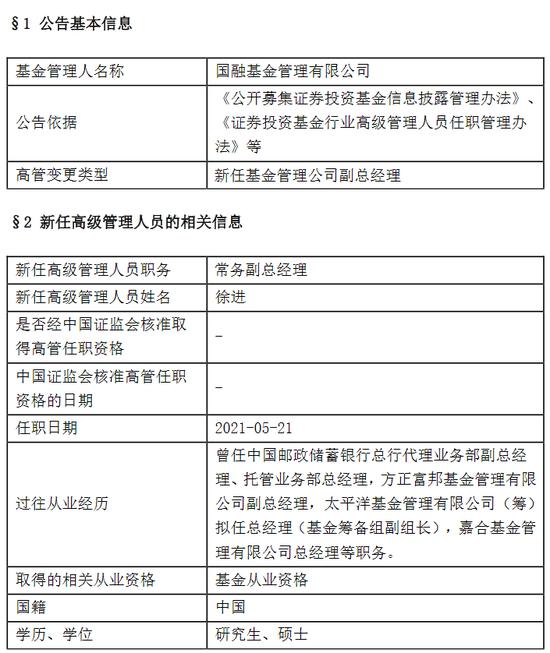 国融基金新任徐进为常务副总经理 曾任嘉合基金总经理等职务