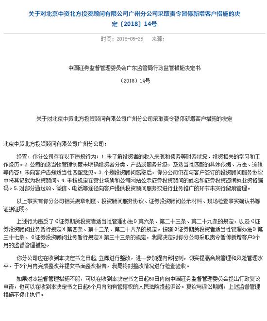 中资北方存多项违规 被证监局责令暂停新增客户3个月