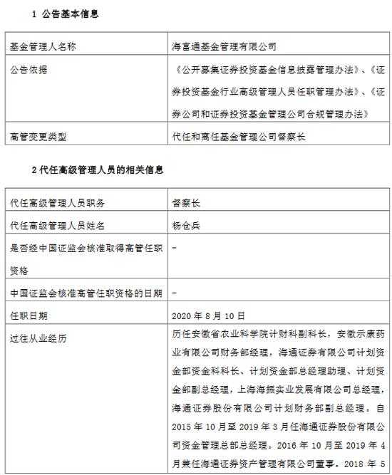 海富通基金奚万荣因工作调整离任 董事长杨仓兵代任督察长