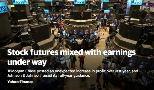 美股盘前:财报季开启 道指期货跌0.4%